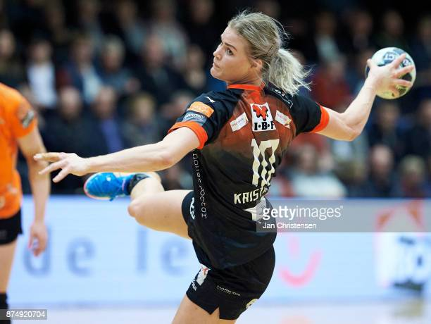 Veronica Kristiansen of FC Midtjylland challenge for the ball during the Primo Tours Ligaen 1 Semifinal match between FC Midtjylland and Copenhagen...