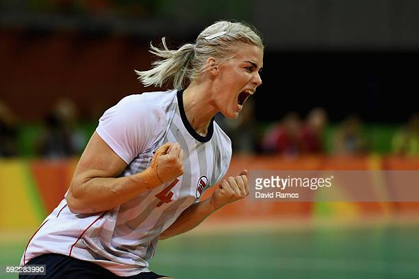 Veronica Kristiansen of Norway reacts during the Women's Handball Bronze medal match between Netherlands and Norway at Future Arena on Day 15 of the...