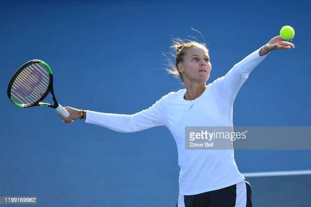 Veronica Kurdermetova of Russia prepares to serve during her first round match against Samantha Stosur of Australia on day three of the 2020 Hobart...