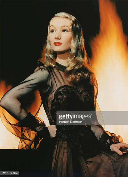 Veronica Lake in Front of Flames