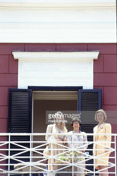Veronica Lario, Second wife of Italian Prime Minister Silvio Berlusconi, Marie Delors, wife of European Commission President Jacques Delors, and US...