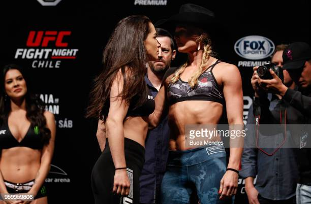 Veronica Macedo of Venezuela and Andrea Lee of the United States face off during during the UFC Fight Night weighin at Movistar Arena on May 18 2018...
