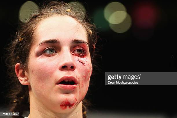 Veronica Macedo of Venezuela appears frustrated after the fight between Ashlee EvansSmith of the USA in their Womens Bantamweight Bout during the UFC...