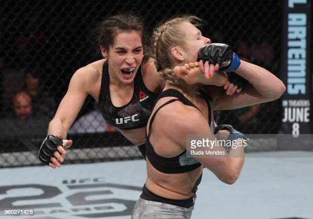 Veronica Macedo of Venezuela kicks Andrea Lee in their women's flyweight bout during the UFC Fight Night event at Movistar Arena on May 19 2018 in...