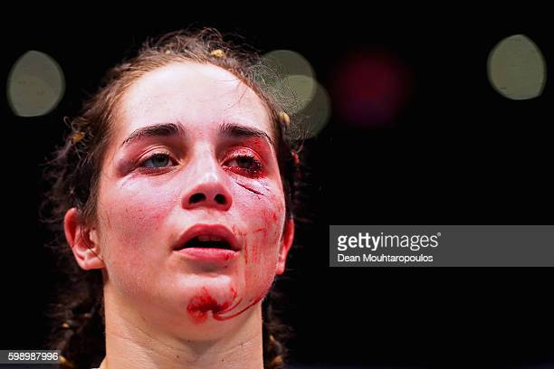 Veronica Macedo of Venezuela looks on after her fight with Ashlee EvansSmith of the USA in their Womens Bantamweight Bout during the UFC Fight Night...