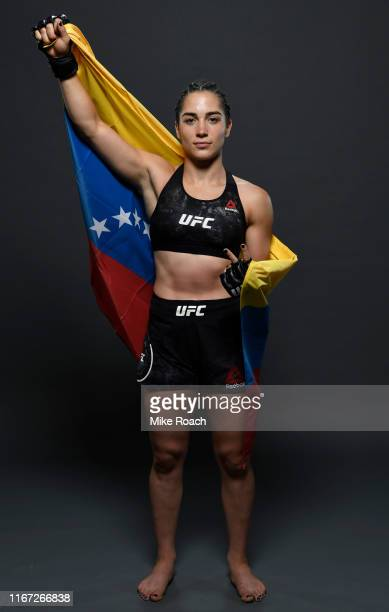 Veronica Macedo of Venezuela poses for a portrait backstage after her victory during the UFC Fight Night event at Antel Arena on August 10 2019 in...