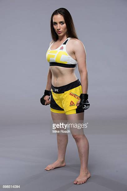 Veronica Macedo of Venezuela poses for a portrait during a UFC photo session at the Radisson Blu Hamburg on August 31 2016 in Hamburg Germany