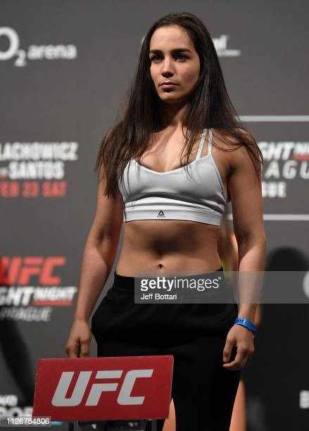 Veronica Macedo of Venezuela poses on the scale during the UFC Fight Night weighin at O2 arena on February 22 2019 in Prague Czech Republic