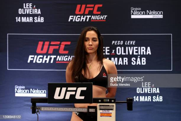 Veronica Macedo of Venezuela poses on the scale during the UFC Fight Night Lee v Oliveira weighin at Windsor Plaza Hotel on March 13 2020 in Brasilia...