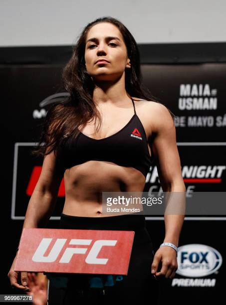 Veronica Macedo of Venezuela poses on the scale during the UFC Fight Night weighin at Movistar Arena on May 18 2018 in Santiago Chile