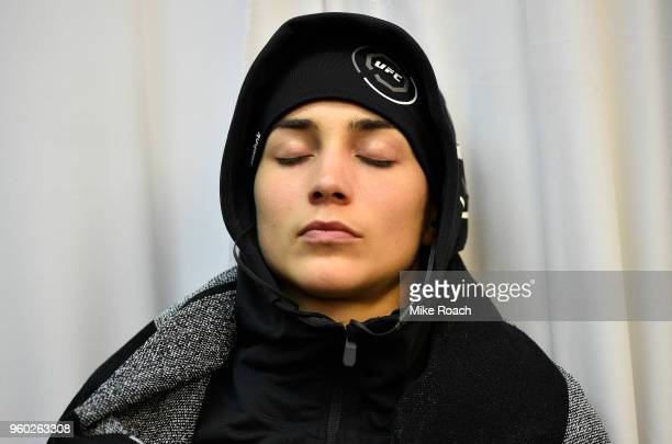 Veronica Macedo of Venezuela relaxes in her locker room prior to her bout against Andrea Lee during the UFC Fight Night event at Movistar Arena on...