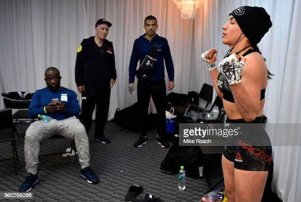 Veronica Macedo of Venezuela warms up backstage prior to her bout against Andrea Lee during the UFC Fight Night event at Movistar Arena on May 19...
