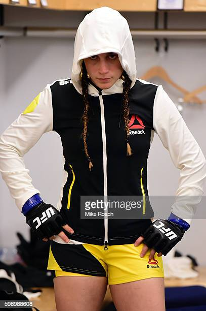 Veronica Macedo of Venezuela warms up before her bout against Ashlee EvansSmith during the UFC Fight Night Arlovski v Barnett at Barclaycard Arena on...