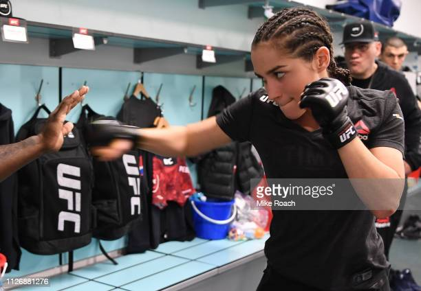 Veronica Macedo of Venezuela warms up prior to her fight against Gillian Robertson during the UFC Fight Night event at O2 arena on February 23 2019...