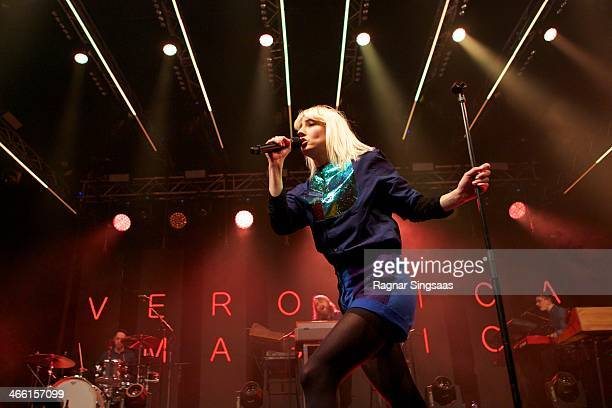 Veronica Maggio performs at Oslo Spektrum on January 31 2014 in Oslo Norway