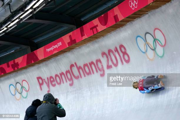 Veronica Maria Fravenna of Argentina slides during the Womens Singles Luge training during day one of the PyeongChang 2018 Winter Olympic Games at...