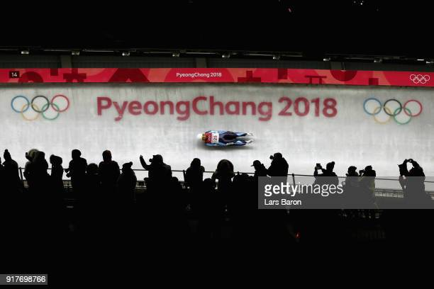 Veronica Maria Ravenna of Argentina during the Luge Women's Singles run 3 on day four of the PyeongChang 2018 Winter Olympic Games at Olympic Sliding...