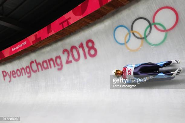 Veronica Maria Ravenna of Argentina slides during the Women's Singles Luge run 1 at Olympic Sliding Centre on February 12 2018 in Pyeongchanggun...