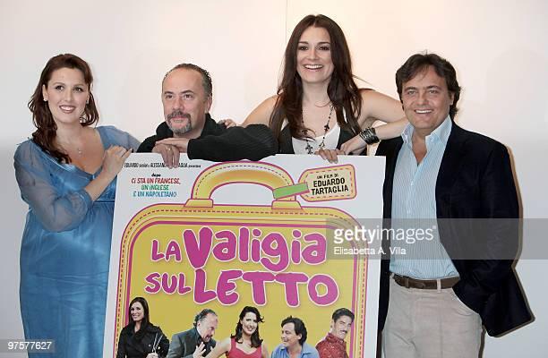 Veronica Mazza Maurizio Casagrande Alena Seredova and actor / director Eduardo Tartaglia attend La Valigia Sul Letto photocall at Casa del Cinema on...
