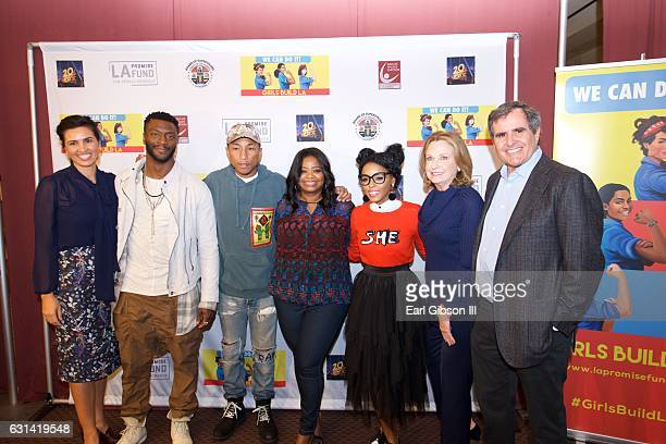 Veronica Melvin Aldis Hodge Pharrell Williams Octavia Spencer Janelle Monáe Megan Chernin and Peter Chernin pose for a photo at the LA Promise Fund...