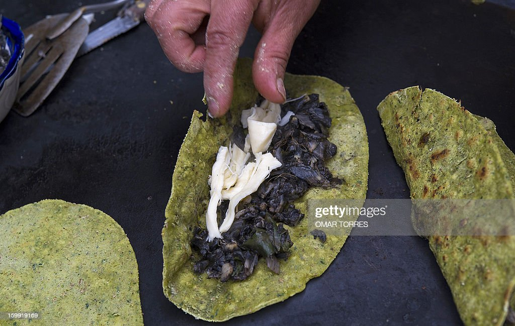 Veronica Mendoza places 'huitlacoche' (black mushroom that grows on corn) and cheese to make 'quesadillas' with spinach and wheat bran tortillas at her restaurant in Mexico City on January 22, 2013. Her take on the traditional tortillas, made with vegetables and grains, are an attempt to make 'quesadillas' (stuffed fried tortilla) healthier.