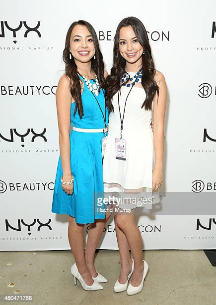 Veronica Merrell and Vanessa Merrell attend the NYX Cosmetics VIP lounge during BeautyCon LA at The Reef on July 11 2015 in Los Angeles California
