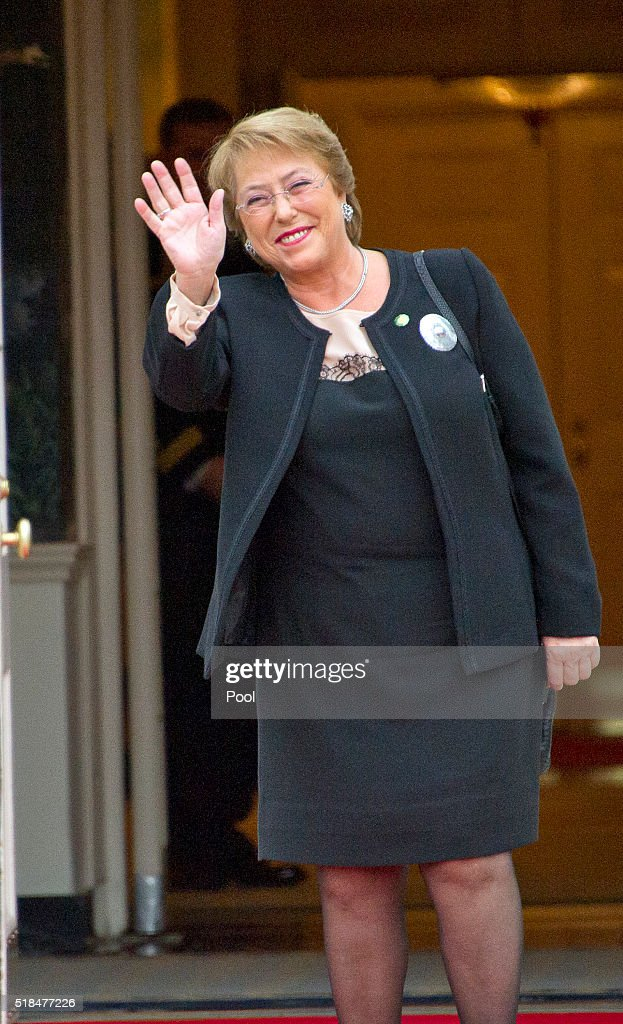 Veronica Michelle Bachelet, President of the Republic of Chile arrives for the working dinner for the heads of delegations at the Nuclear Security Summit on the South Lawn of the White House March 31, 2016 in Washington, D.C..