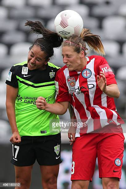 Veronica Perez of Canberra and Rebekah Stott of Melbourne City contest a header during the round four WLeague match between Canberra United and...