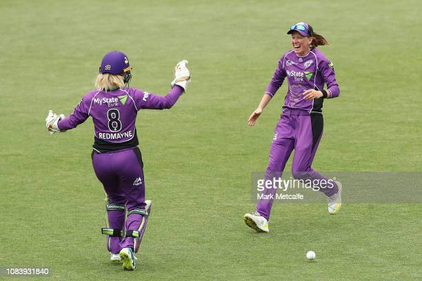 Veronica Pyke of the Hurricanes celebrates taking a catch to dismiss Amy Jones of the Scorchers during the Women's Big Bash League match between the...