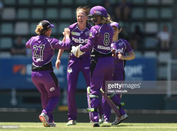 Veronica Pyke of the Hurricanes celebrates taking the wicket of Erin Burns of the Sixers during the Women's Big Bash League match between the Hobart...