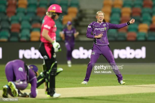 Veronica Pyke of the Hurricanes celebrates taking the wicket of Alyssa Healy of the Sixers during the Women's Big Bash League match between the...