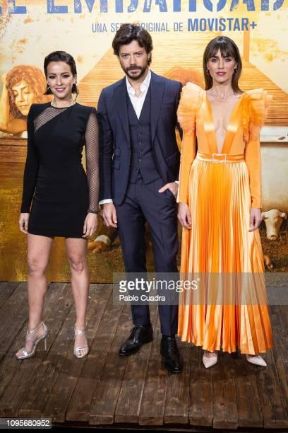 Veronica Sanchez Alvaro Morte and Irene Arco attends the 'El Embarcadero' premiere at Callao Cinema on January 17 2019 in Madrid Spain
