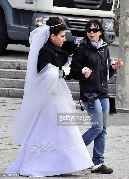 Veronica Sanchez is seen on the set filming 'Gran Reserva' on April 9 2013 in Madrid Spain