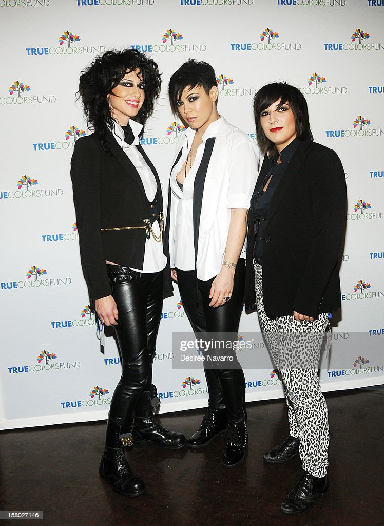Veronica Sanchez, Kiyomi McCloskey and Laura Petracca of the band Hunter Valentine attend the 2nd annual Cyndi Lauper and Friends: Home For The Holidays at The Beacon Theatre on December 8, 2012 in New York City.
