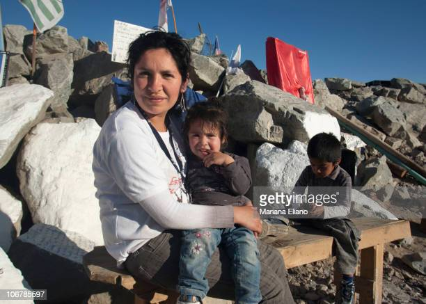 Veronica Sanchez sister of Jimmy Sanchez the youngest of the trapped miners waits at Campamento Esperanza at the San Jose Mine in September 2010 near...
