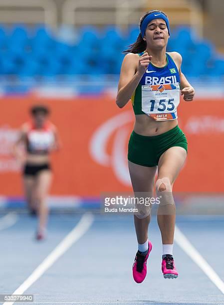 Veronica Silva Hipolito of Brazil competes the Women's 400m T38 Final during the Paralympics Athletics Grand Prix Aquece Rio Test Event for the Rio...