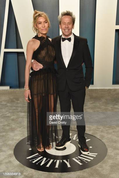 Veronica Smiley and Brian Grazer attend the 2020 Vanity Fair Oscar Party at Wallis Annenberg Center for the Performing Arts on February 09, 2020 in...