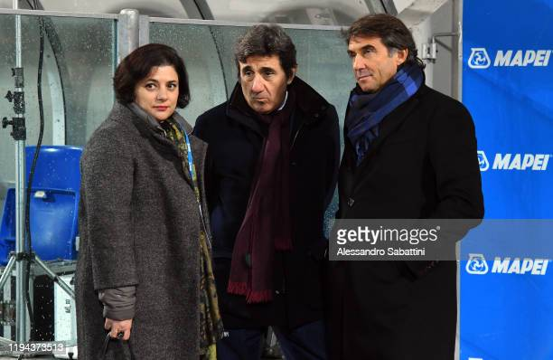 Veronica Squinzi of US Sassuolo President of Torino Urbano Cairo and Giovanni Carnevali of US Sassuolo talks during the Serie A match between US...