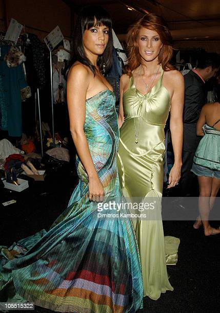 Veronica Webb and Angie Everhardt during Olympus Fashion Week Spring 2006 Fashion For Relief Backstage at Bryant Park in New York City New York...