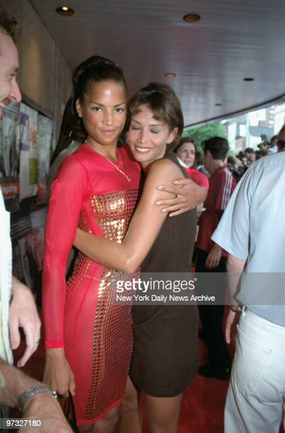 Veronica Webb and model Kara Young attending Lifebeat benefit premiere of Trainspotting at the Sony 34th St Theater