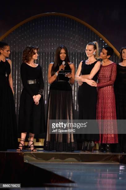 Veronica Webb Stephanie Seymour model Naomi Campbell model Eva Herzigova and Nadege du Bospertus on stage during The Fashion Awards 2017 in...