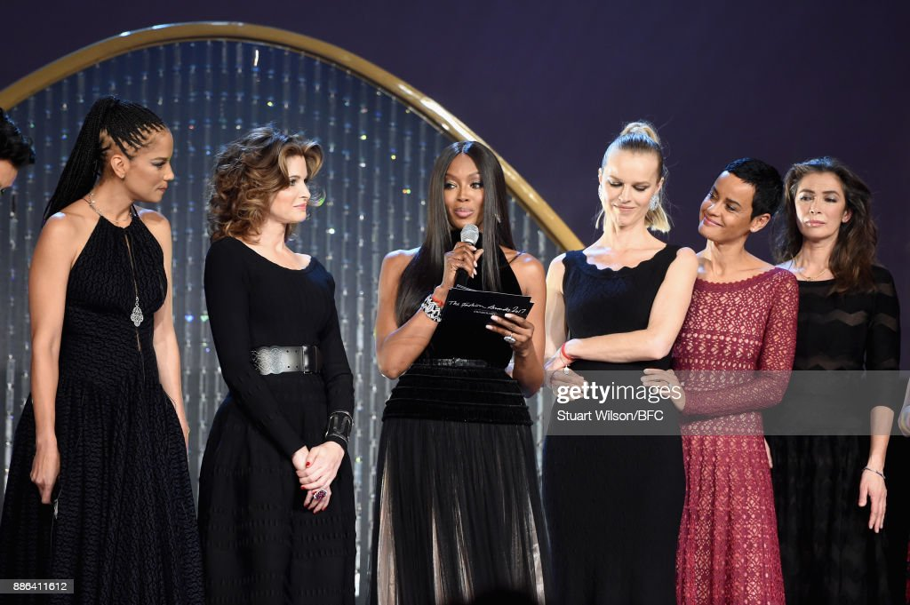 Veronica Webb, Stephanie Seymour, Naomi Campbell, Eva Herzegova, Nadege du Bospertus and a guest on stage during The Fashion Awards 2017 in partnership with Swarovski at Royal Albert Hall on December 4, 2017 in London, England.