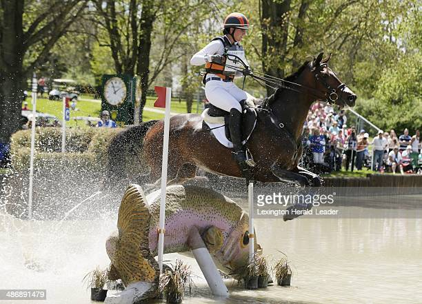 Veronica, with Lauren Keiffer up, jumps over the trout at the Head of the Lake during the cross country competition of the Rolex Three-Day event at...