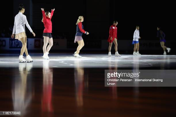 Veronik Mallet of Canada is introduced during ladies free skating in the ISU Grand Prix of Figure Skating Skate America at the Orleans Arena on...