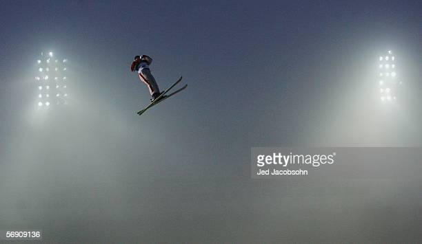 Veronika Bauer of Canada competes in the Womens Freestyle Skiing Aerials Final on Day 12 of the 2006 Turin Winter Olympic Games on February 22 2006...