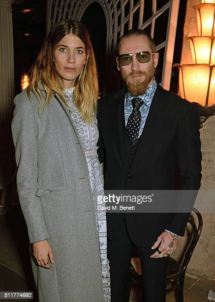 Veronika Heibrunner and Justin O'Shea attends the Erdem show during London Fashion Week Autumn/Winter 2016/17 at The Old Selfridges Hotel on February...