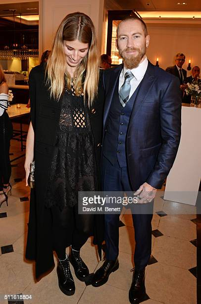 Veronika Heilbrunner and Justin O'Shea attend as mytheresacom and Burberry celebrate the new MYT Woman at Thomas's on February 21 2016 in London...
