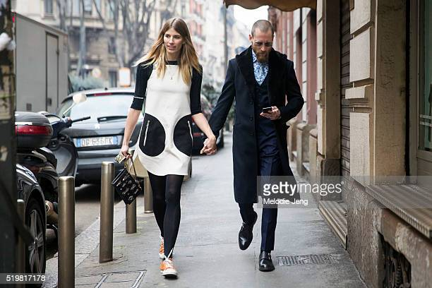 Veronika Heilbrunner and Justin O'Shea exit the Sportmax show during the Milan Fashion Week Fall/Winter 2016/17 on February 26, 2016 in Milan, Italy....