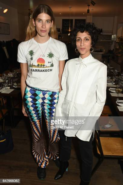 Veronika Heilbrunner and Yasmin Sewell arrive as Topshop and Leandra Medine host dinner to celebrate London Fashion Week on February 19 2017 in...