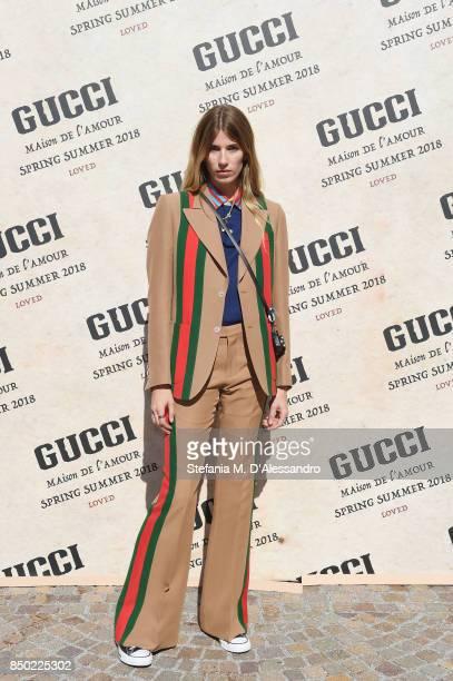 Veronika Heilbrunner arrives at the Gucci show during Milan Fashion Week Spring/Summer 2018 on September 20 2017 in Milan Italy
